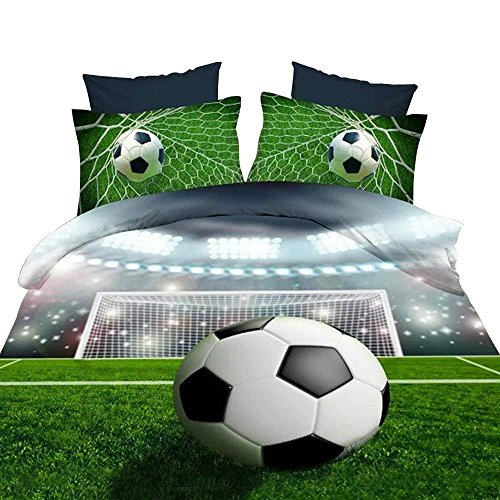 3D Soccer Ball Football Bedding Sets, 100% Polyester 3d Bedding Sets, 4pcs with Duvet Cover, Bed Sheet, 2pillow Case (Comforter Not Included) Twin Size by HomeDeluxe