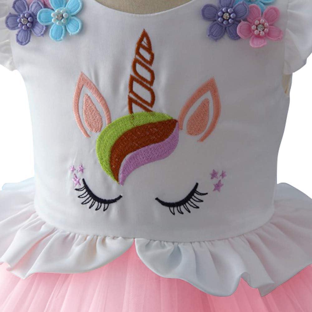 OwlFay Girls Rainbow Unicorn Dress up Costume Princess Tutu Wedding Party Tulle Skirt