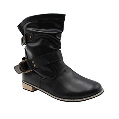 e4290092f Tenthree Women Mid Calf Boots Leather - Ladies Block Heel Wide Calf Round  Toe Biker Boots Buckle Classic Loafers Winter Slip-Resistant: Amazon.co.uk:  Shoes ...