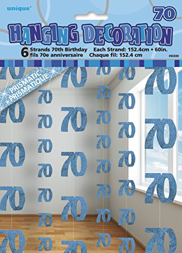 Unique 70s Costume Ideas (UNIQUE PARTY 55339 - 5ft Hanging Glitz Blue 70th Birthday Decorations, Pack of)