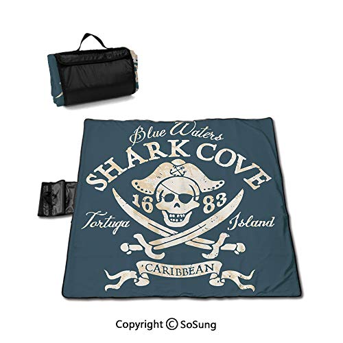 Pirate Picnic Blanket with Tote,Shark Cove Tortuga Island Caribbean Waters Retro Jolly Roger Foldable & Waterproof Camping Mat for Outdoor Beach Hiking Grass Travel,Slate Blue White Light Mustard