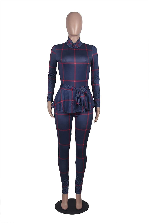 Speedle Women Crowl Neck Long Sleeve Stripe Plaid Pants Set 2 Piece Outfits with Belt