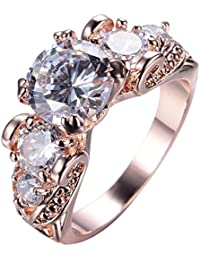 Adeser Womens CZ Ring Engagement Rings Womens Rings Sterling Silver Created 5 Stone Rings for Women Rose Gold Rings Fashion Band Zirconia Ring (5-10)