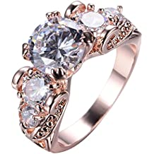 Junxin Top 10 KT Rose Gold Plated Ring,Women and Man Wedding Engagement Promise Rings,Three Stone rings to Show You Unlimited Beauty and Self confidence