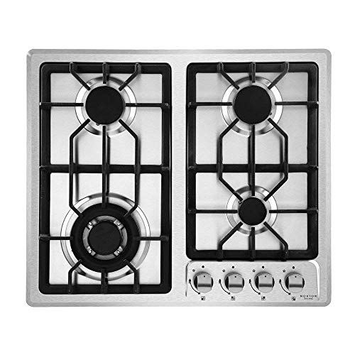 NOXTON Gas Cooktop Hob Gas Stove Top With 4 Sealed Burners for LPG Natural Gas Stainless Steel with FFD Thermocouple Protection Easy To ()