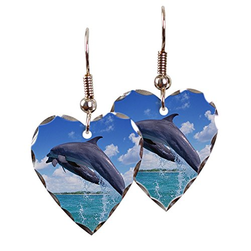 - Earring Heart Charm Dolphins Singing