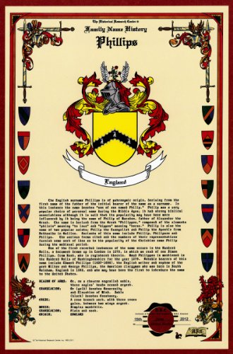 Phillips Coat of Arms/Crest and Family Name History, meaning & origin plus Genealogy/Family Tree Research aid to help find clues to ancestry, roots, namesakes and ancestors plus many other surnames at the Historical Research Center Store (Family Surname Crest)