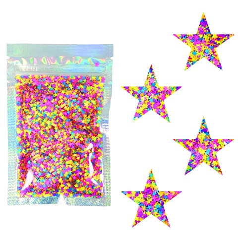 10 Grams - Rainbow Stars Cosmetic Glitter - Black Light Activated - Festival Rave Beauty Makeup Face Body Nail
