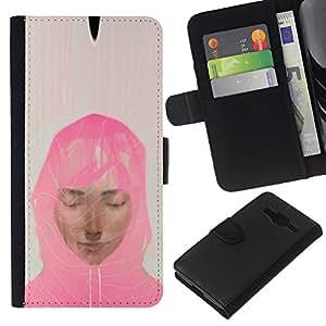iBinBang / Flip Funda de Cuero Case Cover - Mujer musulmán bufanda rosada Arte Pintura Retrato - Samsung Galaxy Core Prime