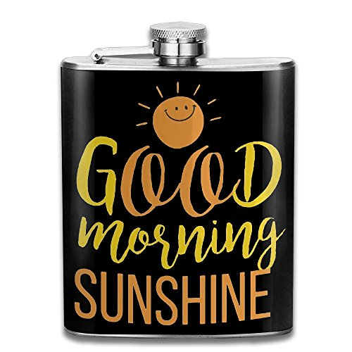 Good Morning Sunshine Flasks Stainless Steel Cool Liquor Flagon Retro Rum Whiskey Alcohol Pocket Flask Liquor Flagon Retro Rum Whiskey Flask Great Little Gift 7OZ (Tequila And Sprite)