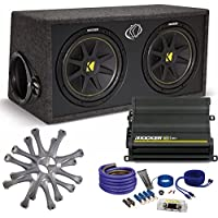 Kicker Comp Dual 12 package with Kicker CX600.1 600 watt monoblock, grilles, and wiring kit