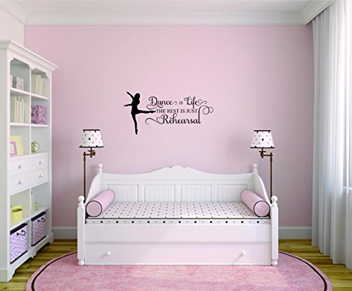 Design with Vinyl Moti 2532 3 Decal Wall Sticker : Dance Is Life The rest is just Rehearsal Bedroom Quote Kids Teen Boy Girl Quote Color: Black Size 20 Inches x 40 Inches by Design with Vinyl (Image #3)