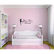 Decal Wall Sticker - Best Selling Cling Transfer - ON SALE NOW : Dance Is Life The Rest Is Just Rehearsal Bedroom Quote Kids Teen Boy Girl Quote Home Decor Picture Art Size :20 Inches x 40 Inches
