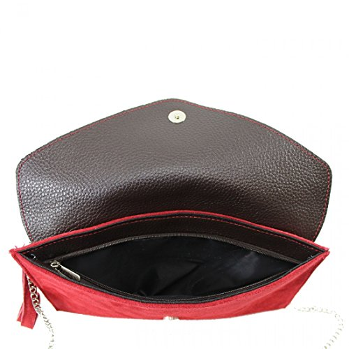 Envelope Party Clutch Wedding Purse Suede Italian Leather Handbag Crossbody Red Bag Designer Bag Genuine vwIPxXgw