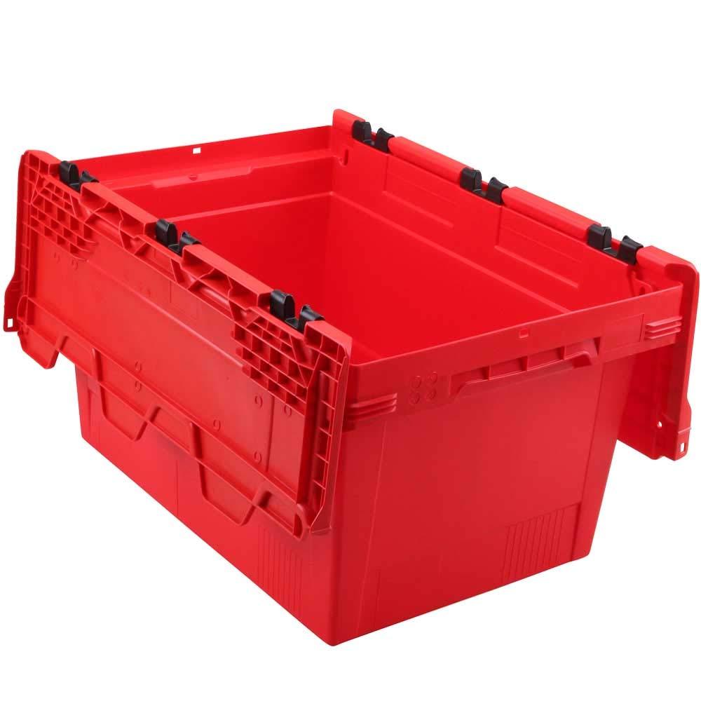 verplompbar LxBxH 600 x 400 x 300 mm stapelbar rot 47 Liter 5x Klappdeckelbox//Mehrwegbox