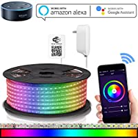 Luces de tira LED Compatible con Alexa, Maxonar Wifi Kit de tira de luz LED con RGB Multicolor Impermeable IP65 Luz de tira Teléfono inteligente inalámbrico Controlado Kit de bricolaje funciona Amazon echo Página principal de Google (16.4 Ft)