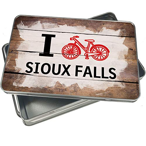 NEONBLOND Cookie Box I Love Cycling City Sioux Falls Christmas Metal Container ()