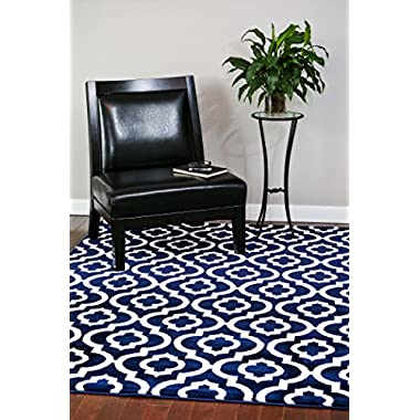 3028 Navy Moroccan Trellis 7'10x10'6 Area Rug Carpet Large New