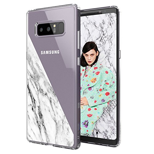 Half Note (Galaxy Note 8 Case, Galaxy Note 8 Clear Case, MOSNOVO Half White Marble Clear Design Printed Transparent Hard Back Case with Soft TPU Bumper Protective Phone Case Cover for Samsung Galaxy Note 8)