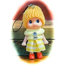 Cute Yellow Snug Cozy Doll Wool Pompom Toy Charm Keyring Keychain Key Chain Soft Fluffy Cotton Knit Hat Gem D Dung D-Dung Sweet Unusual Innocent Hipster (Yellow)