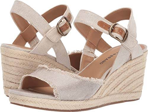 Lucky Women's MINDRA Espadrille Wedge Sandal, Natural/plat 9.5 M US