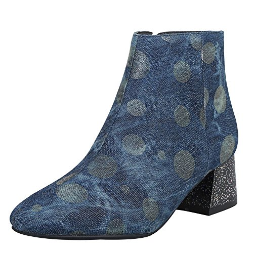 Toe Heel Polka Boots Carolbar Women's Dots Blue Square Dark Zip Mid Short nYqYTH6w