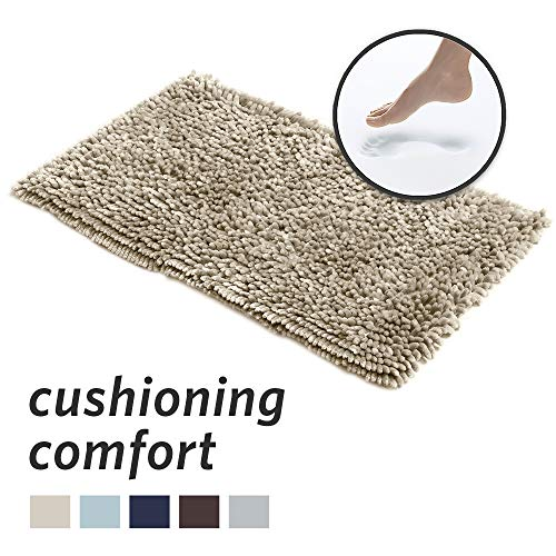 MICRODRY SoftGloss Shiny Absorbent Shag Chenille Memory Foam Bath Mat with GripTex Skid-Resistant Base, 21x34, Linen ()
