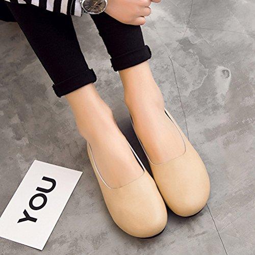 Beige Shoes Loafers Slipper Ons Leather Solid Slip Casual Flat Minibee Women's qPwvaaO