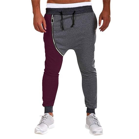 Yvelands Pantalones de Harem de la Cremallera Ocasional Hombres Pantalones del harén de los Pantalones de