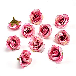 fake flowers heads Handmade Mini Artificial Silk Rose Flowers Heads DIY Scrapbooking Flower Kiss Ball for Wedding Decorative 30 Pcs 3.5cm 8