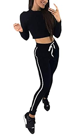 3bca447a3af2f Jogging Suit Ladies Crop Top and Two Pants Simple Glamorous Piece Set  Spring Autumn Fashion Leisure