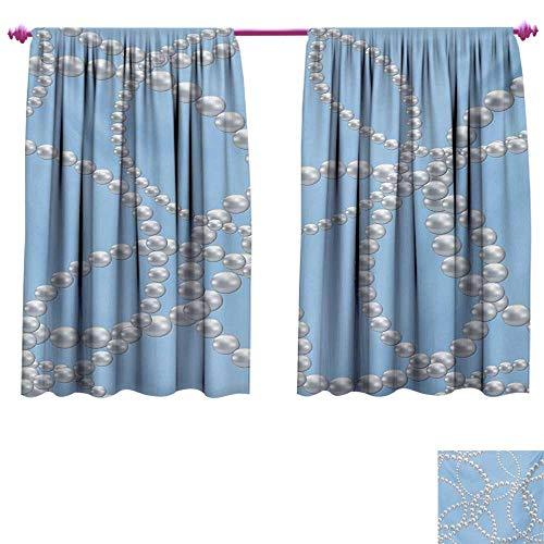 cobeDecor Pearls Waterproof Window Curtain Pearl Necklace Bracelet Classic Women Bridal Groom Shower Theme Feminine Art Window Curtain Drape W84 x L72 Baby Blue White
