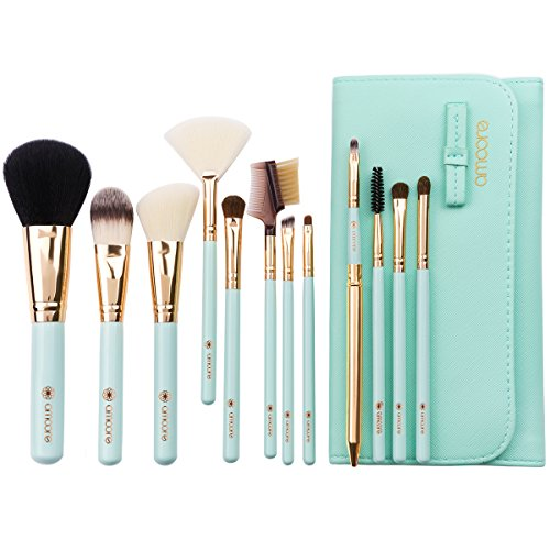 amoore 12Pcs Makeup Brushes Makeup Brush set Makeup Brush with Case Foundation Brush Powder Brush … (12 PCS, Mint Green) (Case Cosmetic Set)