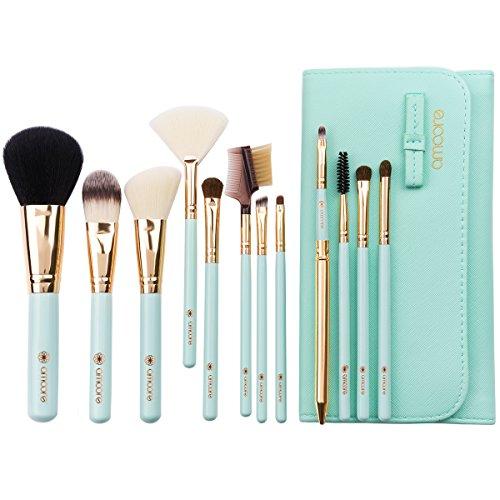 amoore 12Pcs Makeup Brushes Makeup Brush set Makeup Brush with Case Foundation Brush Powder Brush … (12 PCS, Mint Green) (Set Cosmetic Case)