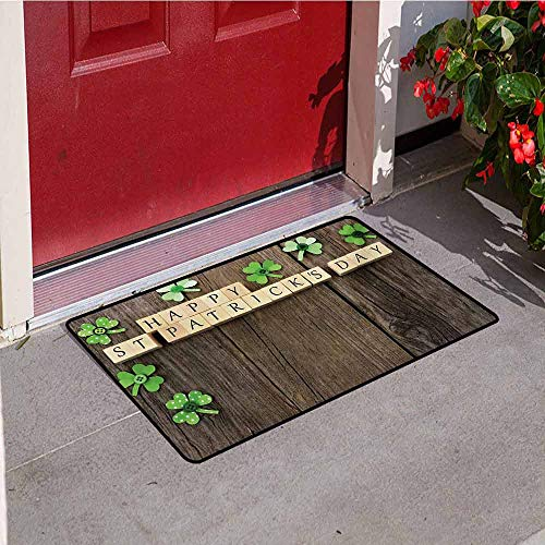 (Jinguizi St. Patricks Day Welcome Door mat Greetings with Wooden Blocks and Paper Shamrocks on Rustic Planks Image Door mat is odorless and Durable W29.5 x L39.4 Inch Umber Beige)