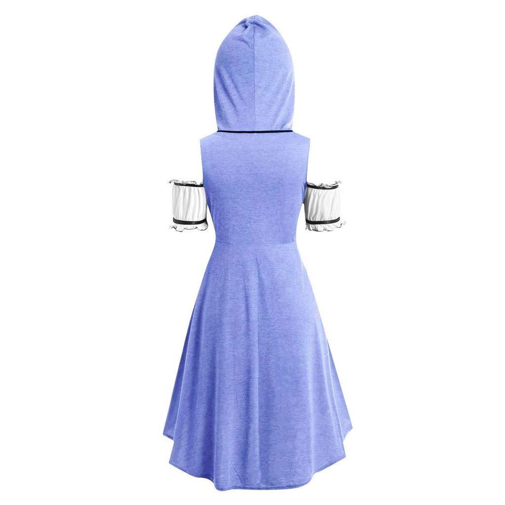 AmyDong Womens Plus Size Vintage Cloak Long Hooded Twinset High Low Punk T-Shirt Tops