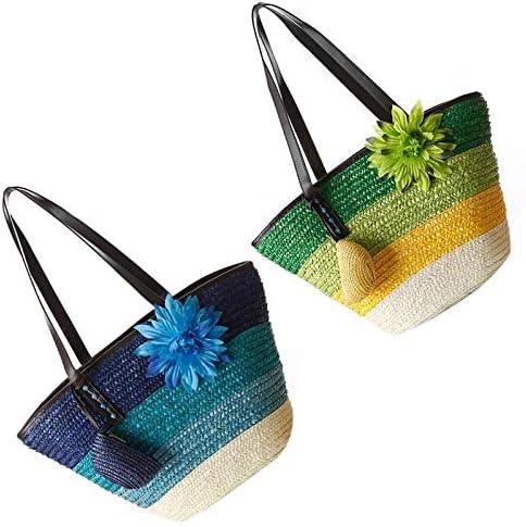 2 piezas de bolso de paja de punto Flor de verano Bolsos de mujer de moda bohemia Rayas de color Bolsos de hombro Bolso de playa Bolsos grandes