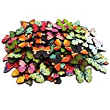 Happlee 100Pcs Mixed Butterfly Wooden Buttons in Bulk, Cartoon Wood Sewing Buttons for Sewing, Arts & Crafts Projects, Scrapbooking, DIY Decoration (Multicolored)