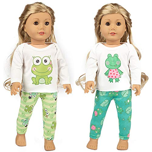"Ecore Fun 2 Sets American 16-18 Inch Girl Doll Clothes Pajamas | for 16"" - 18"" Girl Doll and Other American Doll 