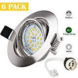 LED Ceiling Recessed Lights Wowatt 6x 6W Daylight White GU10 Spotlight Round Rotatable Downlight Equivalent to 50W Halogen Bulb 6000K 600LM CRI 83Ra 230V 120°Beam Angle for Living Room Bedroom Kitche