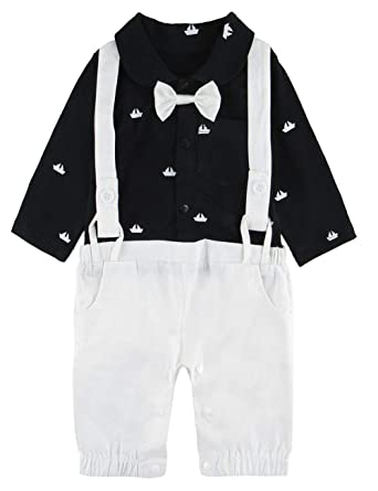 A/&J DESIGN Baby Boys Gentleman Rompers Tuxedo Outfits with Bowtie