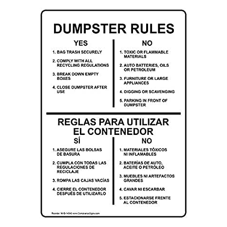 ComplianceSigns Aluminum Trash / Dumpster Sign, 10 x 7 in. with English + Spanish Text, White: Amazon.com: Industrial & Scientific