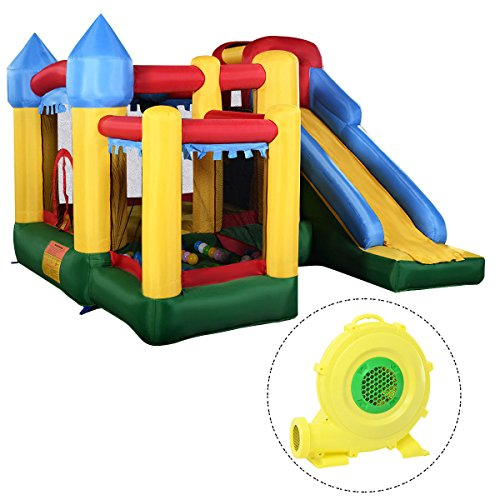 - Costzon Mighty Inflatable Bounce House, Castle Jumper Moonwalk Slide Bouncer, Kids Jumper with Balls (Bounce House with 680W Blower)