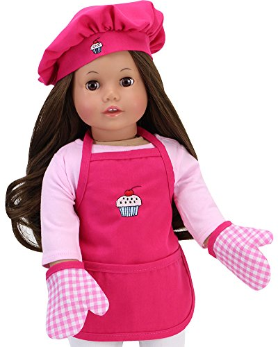 Hot Pink Baking Apron, Hat & Gingham Mitten Set | 4 Piece Doll Apron Set for 18 in Dolls ()