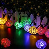 TechCode Solar Lights Outdoor, Solar Powered Rattan Ball Fairy Lamps Outsides Lighting Waterproof String LED Light for Patio Lawn Garden Home Wedding Christmas Party Decorations (Multi-Colour)