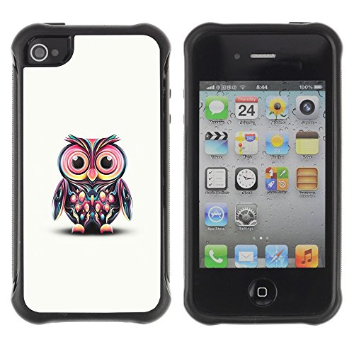 Apple iPhone 4 / iPhone 4S ( Pink Owl Art Colorful Cartoon Character )