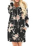 Women's Floral Printed Long Sleeve Hooded Pullover Hoodies Sweatshirt Black L