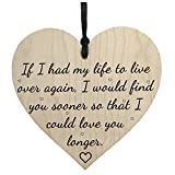 SODIAL(R) Love You Longer Wooden Hanging Heart Shaped Plaque Anniversary Shabby Chic Sign
