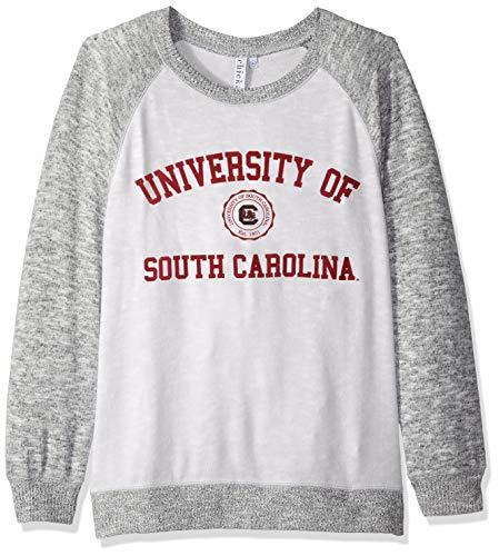 chicka-d NCAA Officially Licensed University of South Carolina Ladies Cozy Crewneck Lightweight Sweatshirt/Sweater- South Carolina Gamecocks Women's Apparel