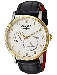 ELYSEE Men's 'Classic-Edition' Automatic Gold-Tone and Leather Casual Watch, Color:Black (Model: 77016.0)